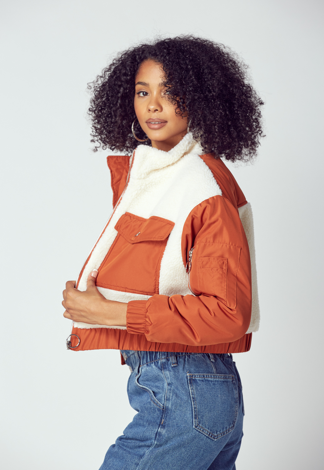 Double Pocket Front Zip-Up Teddy Jacket
