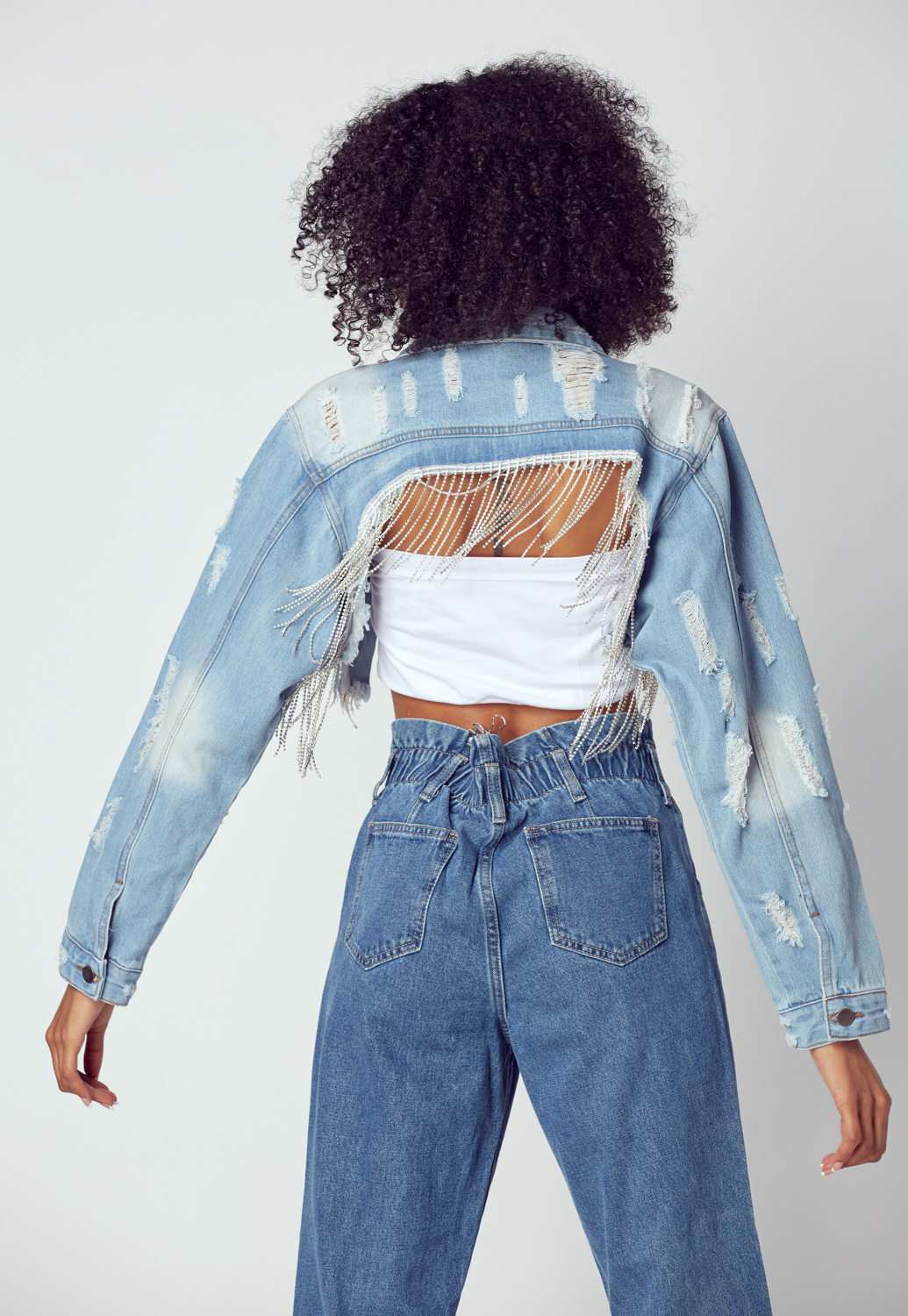 Rhinestone Point Denim Jacket