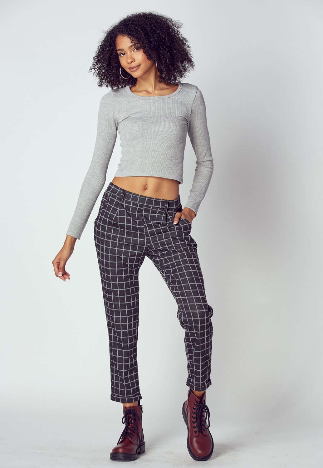 Black Check Pattern Pants