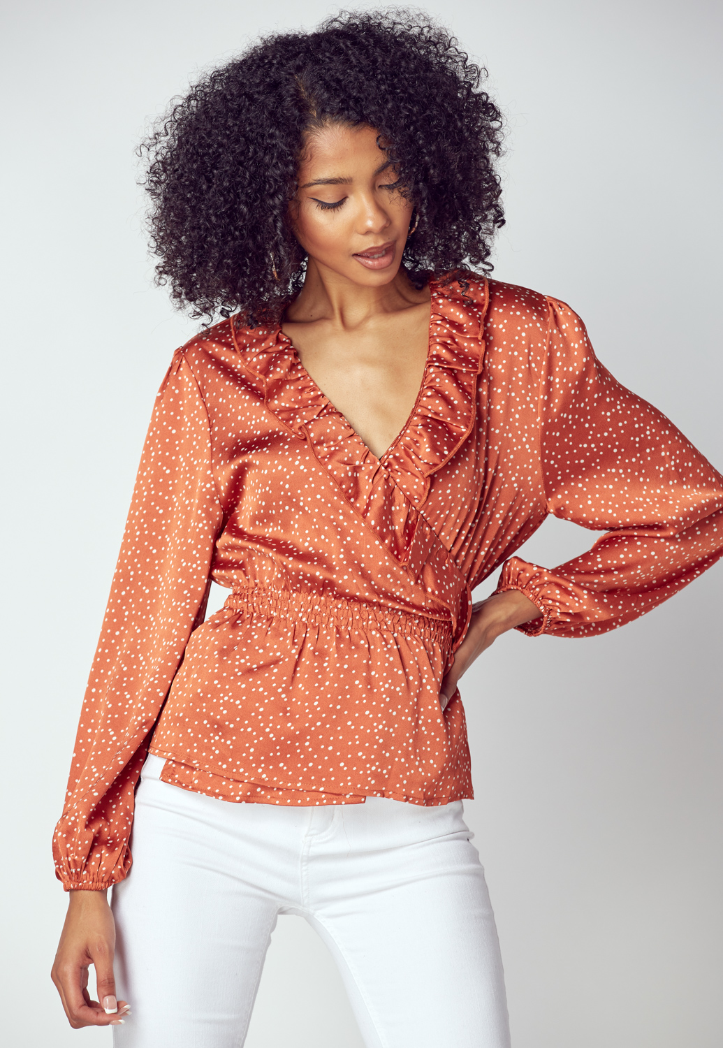 Polka Dot Ruffle Wrap Blouse