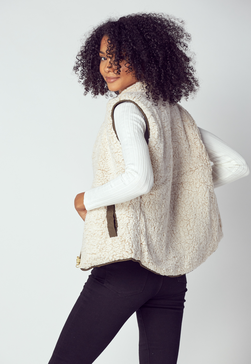 Zip Up Reversible Vest Jacket