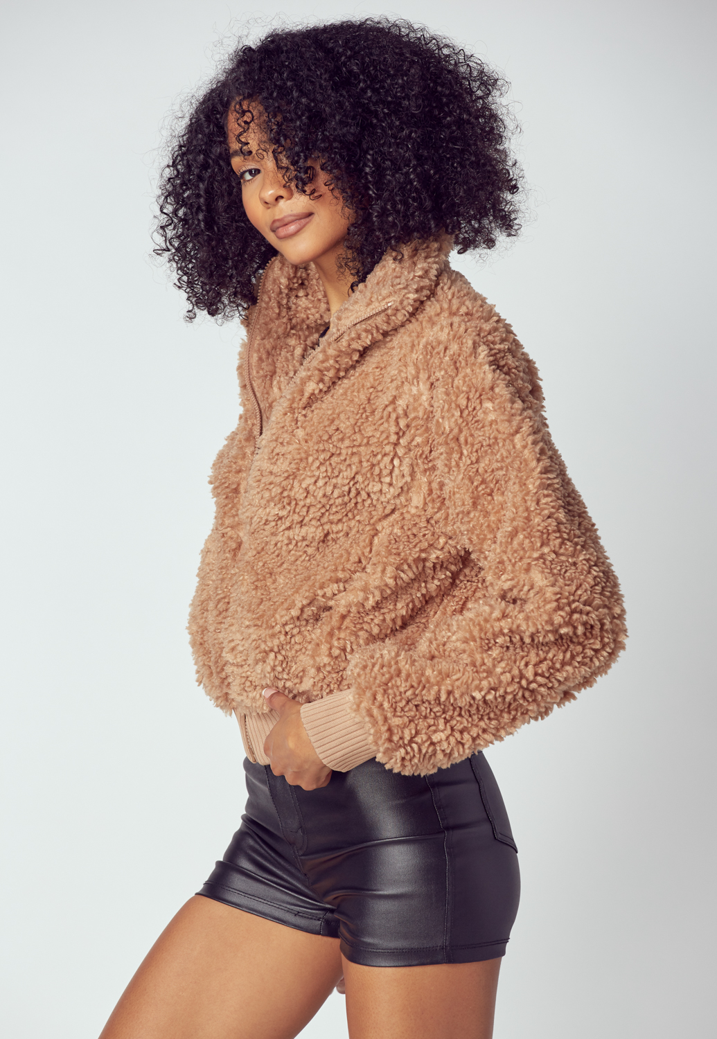 Teddy Cropped Faux Fur Jacket