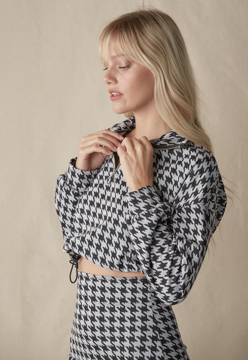 Houndstooth Front Tie Crop Top