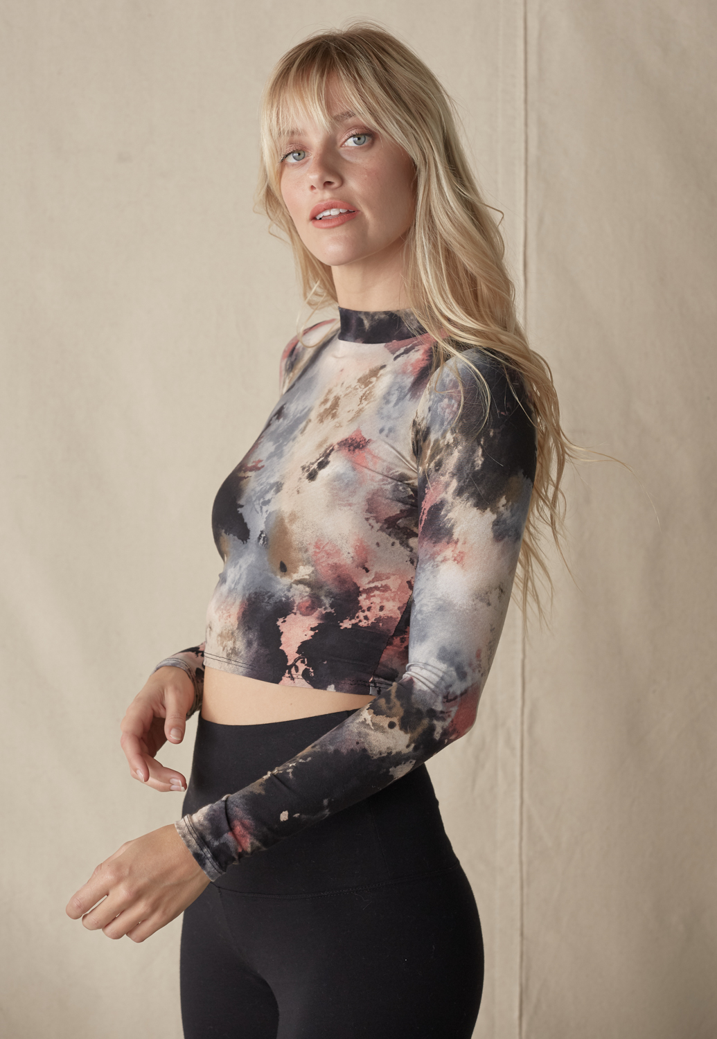 Mock Neck Tie Dye Long Sleeve Crop Top