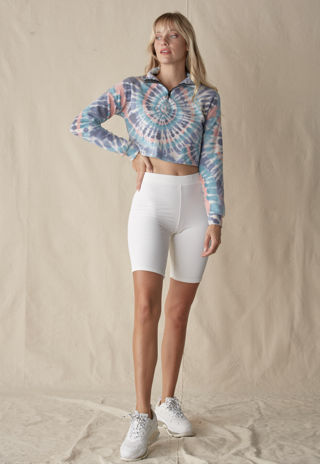 Tie Dye Zip Up Sweatshirt