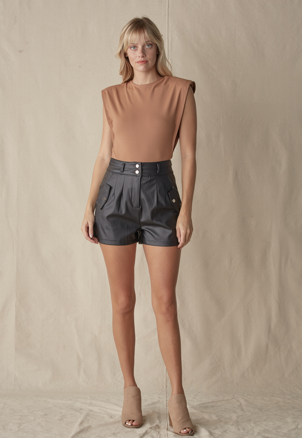 High Waist Fauxlleather Shorts