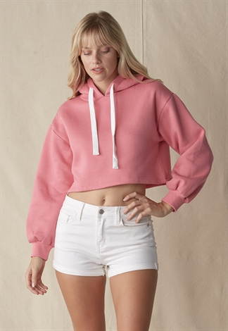 Long Sleeve Hoodie Sweatshirt Crop Top