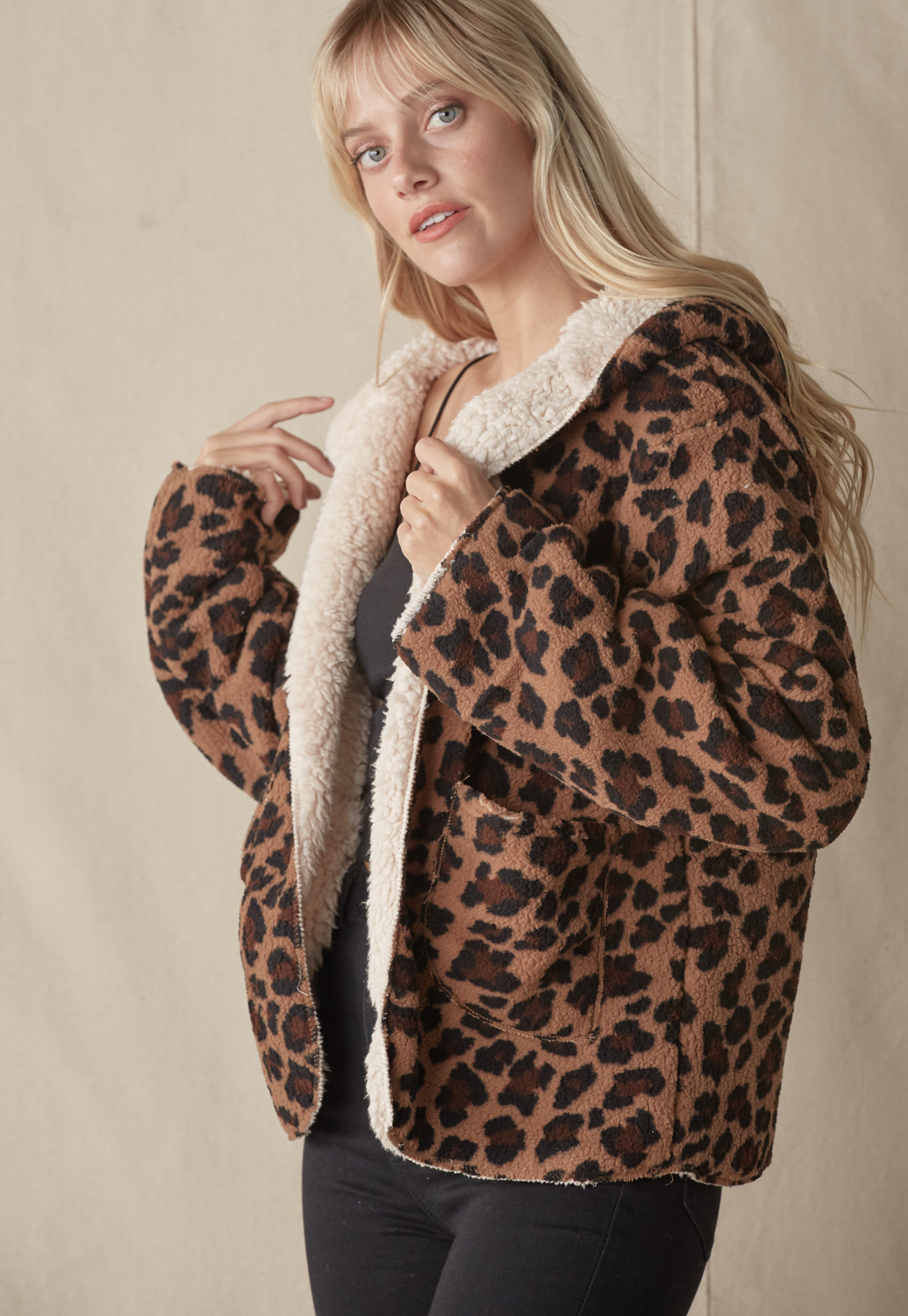 Reversible Fluffy Leopard Teddy Coat