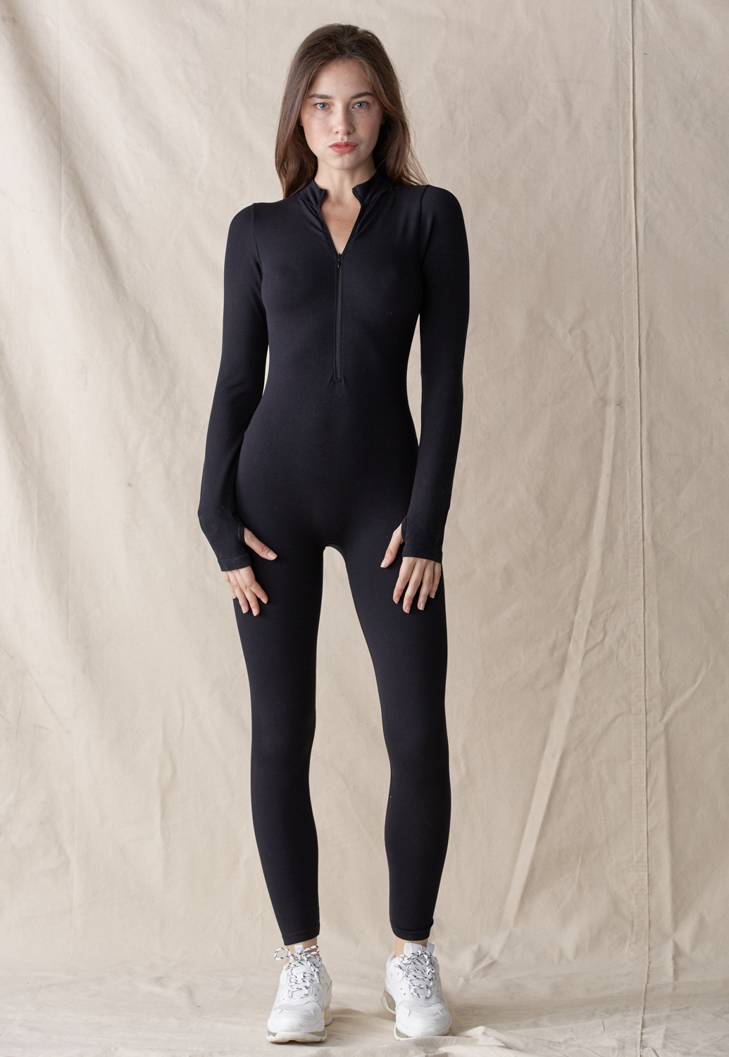 Zipper Front Bodycon Jumpsuit