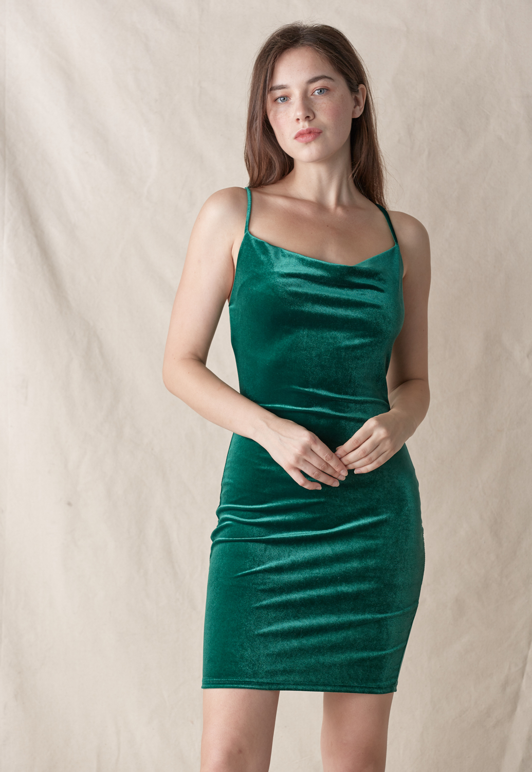 Cowl Neck Velvet Dress