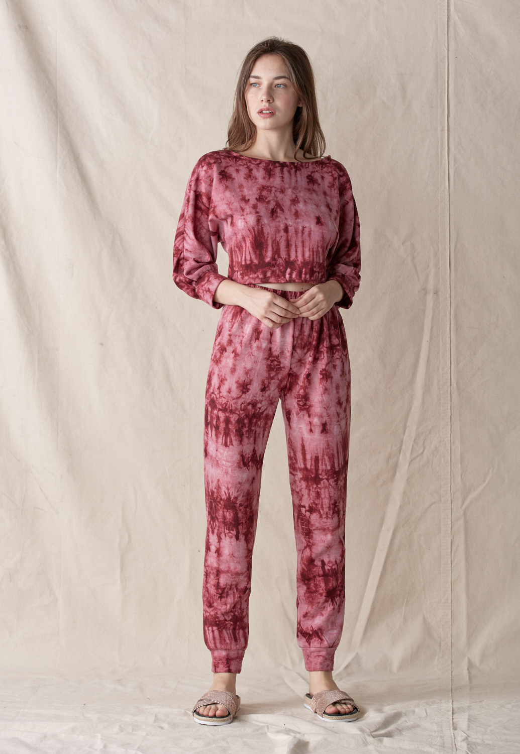 Tie Dye Round Neck Top & Pants Set