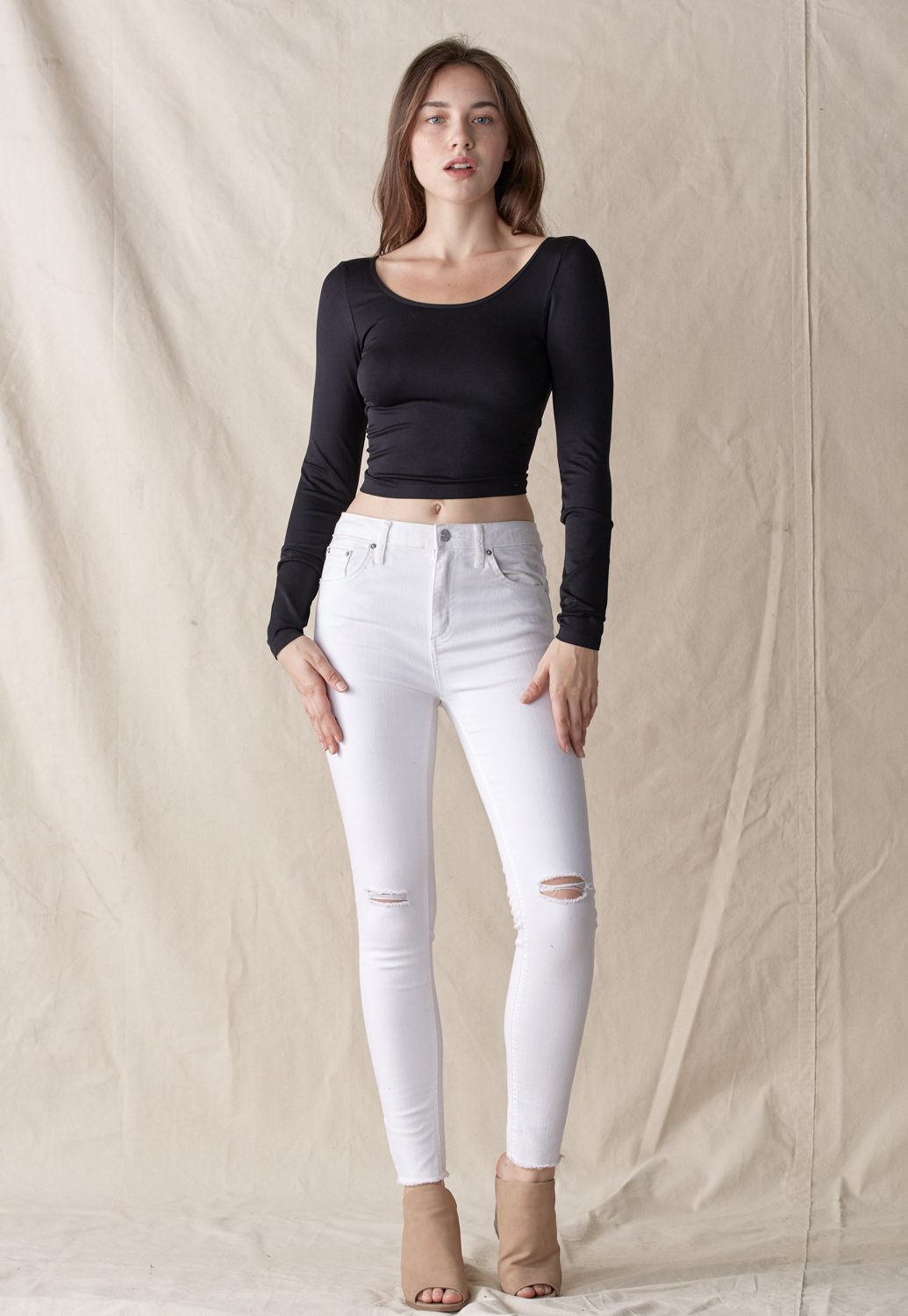 String Back Crop Top