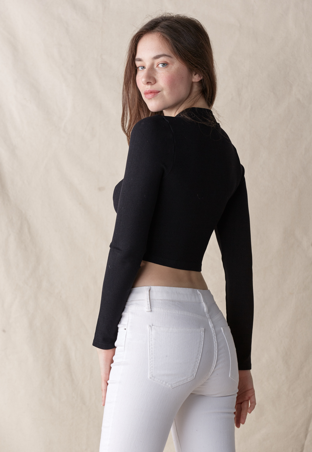 Zipper Front Knit Crop Top