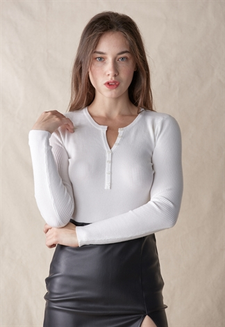 Button Front Rib Knit Top