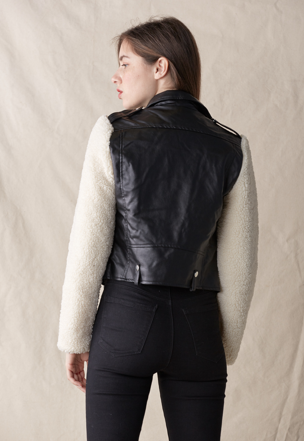 Teddy Faux Leather Biker Jacket