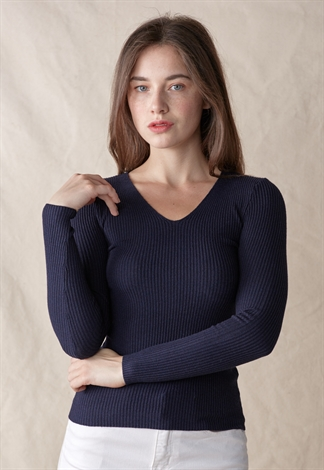 V Neck Fitted Ribbed Knit