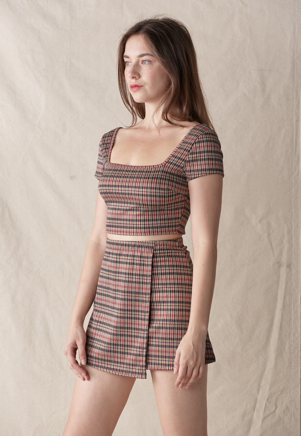 Check Plaid Crop Top & Skirt Set