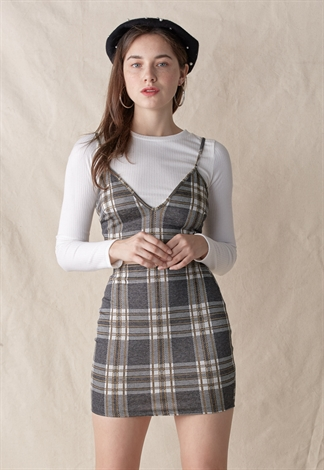 Grey Plaid Check Top & Skirt Set