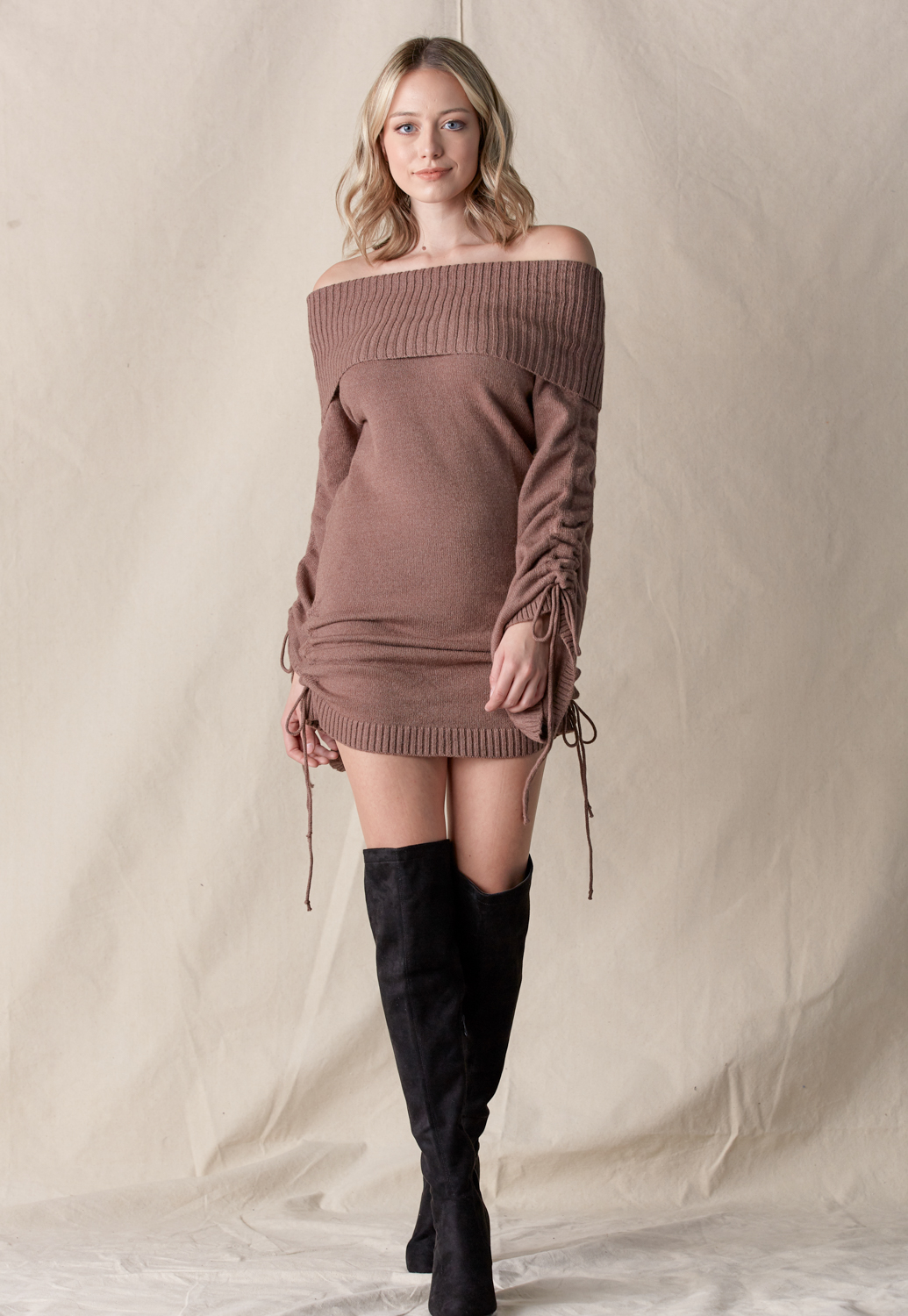 Off Shoulder Drawstring Knit Dress
