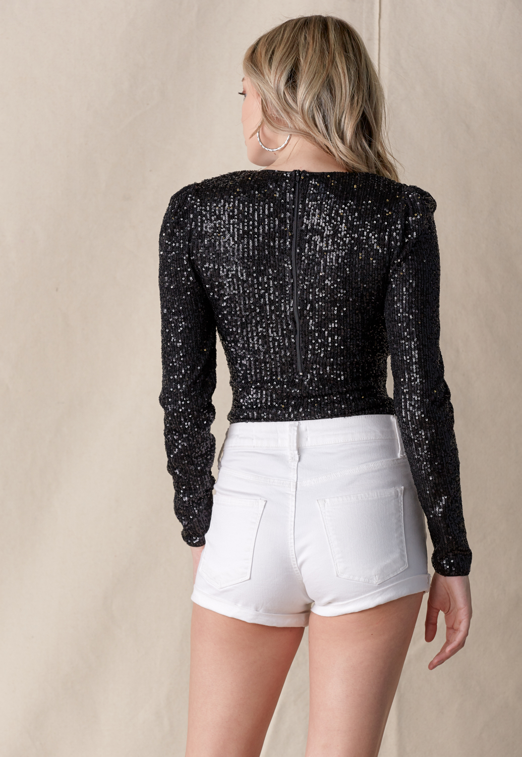 Sequin V Neck Bodysuit