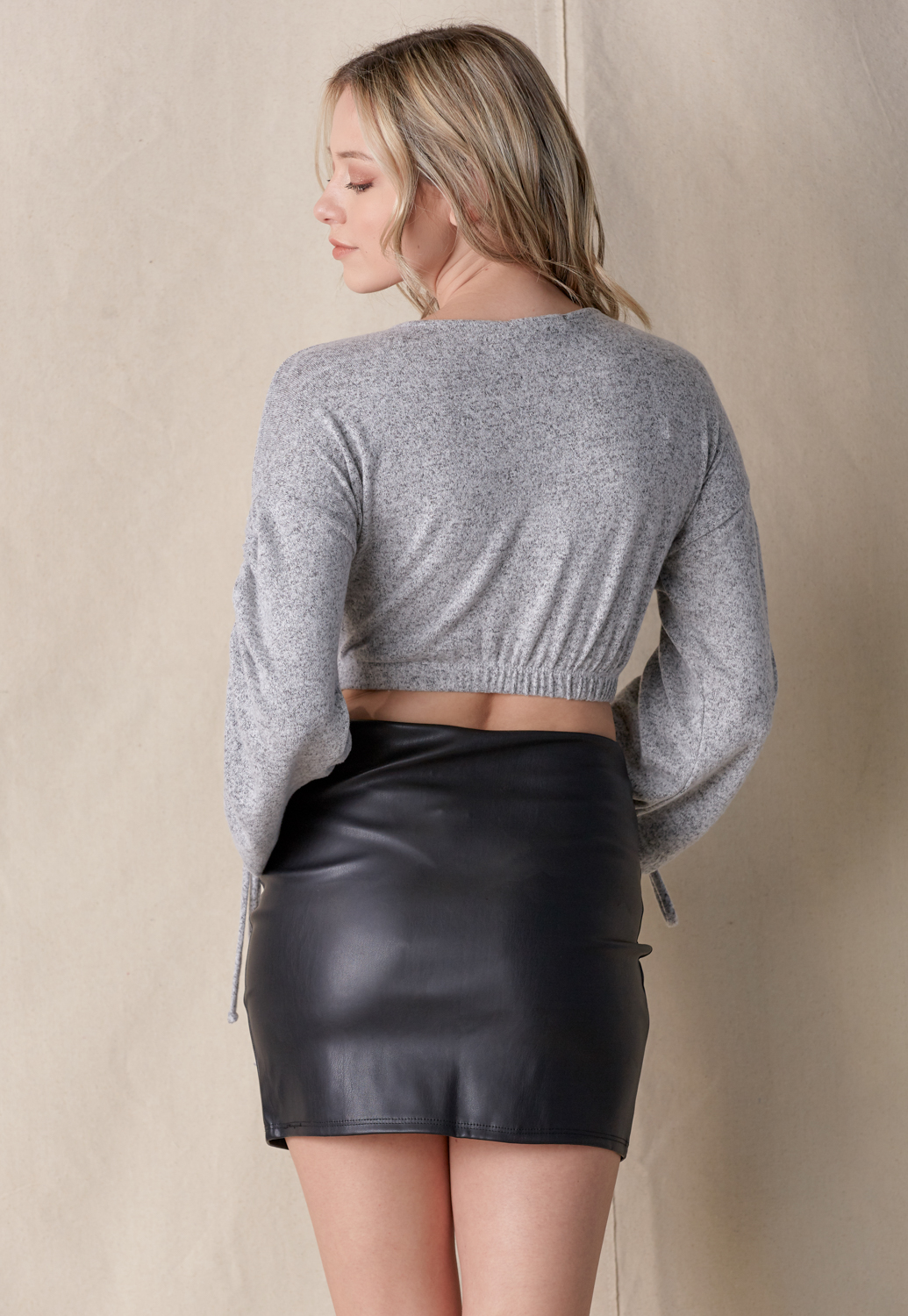 Drawstring Sleeve Crop Knit