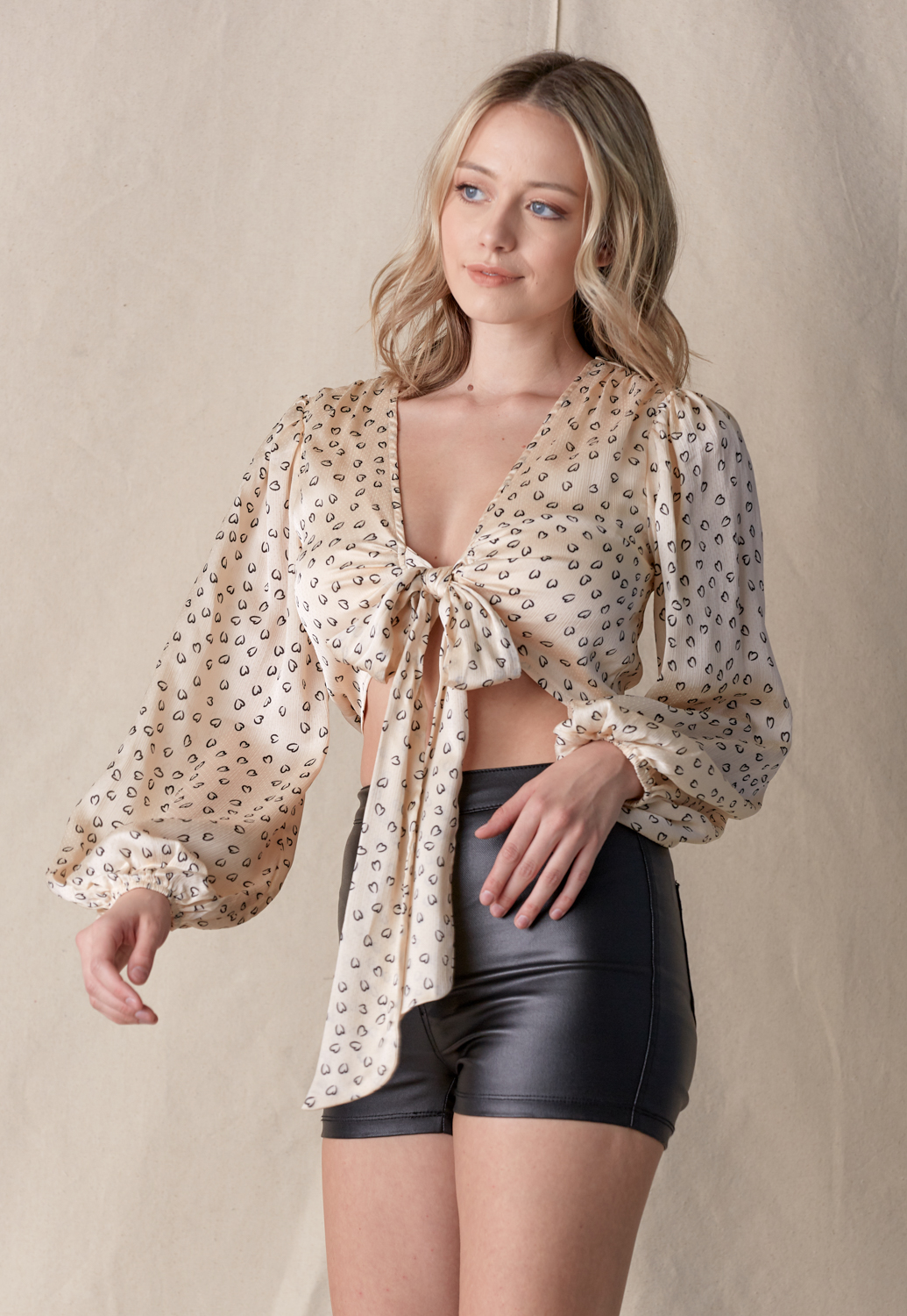 Long Sleeve Wrap Tie Blouse