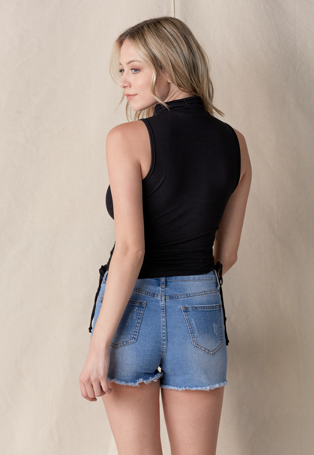 Side Drawstring Mock Neck Tee
