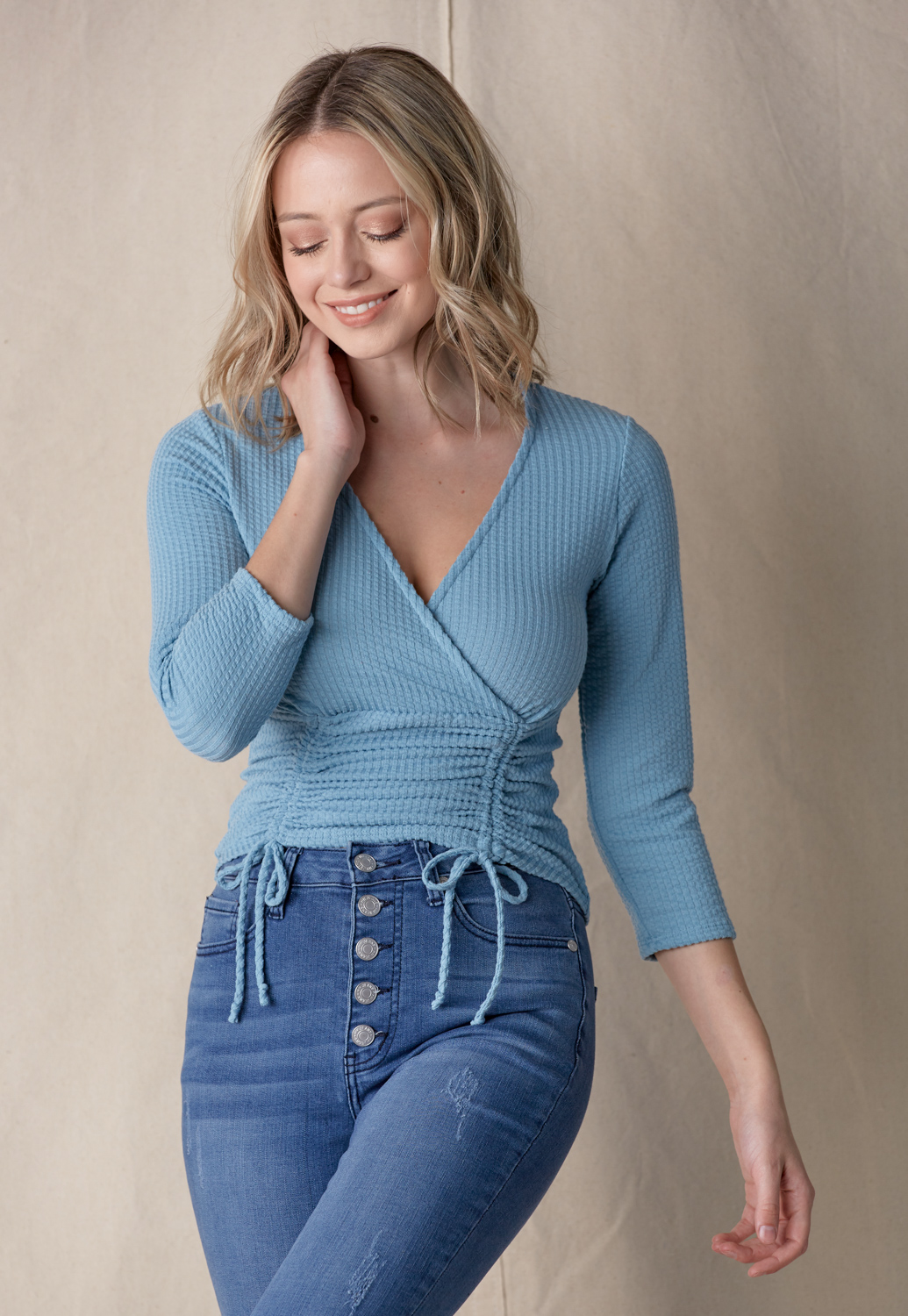 Ruched Drawstring Front Top