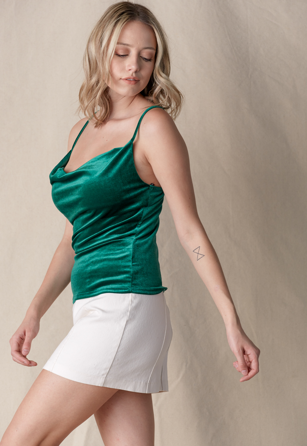 Cowl Neck Velvet Cami Top