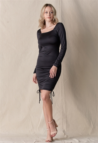 Side Drawstring Square Neck Dress