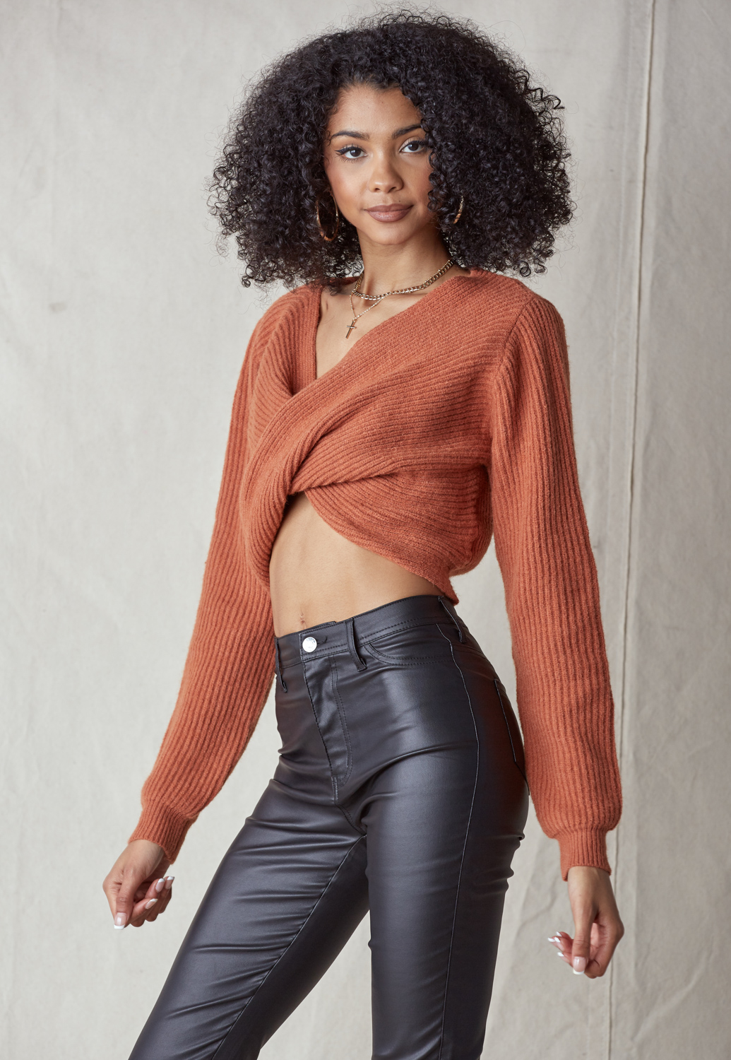 V Neck Cropped Twist Front Sweater