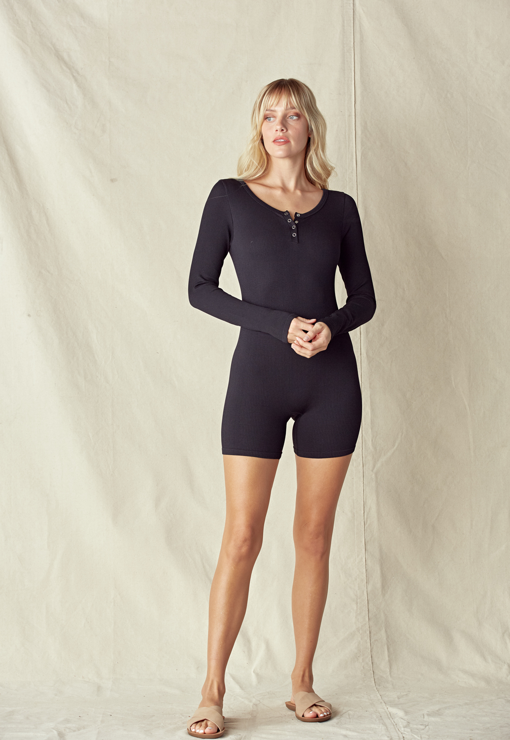Rib Knit Long Sleeve Romper