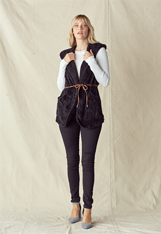 Dual Pocket Belted Hooded Teddy Coat
