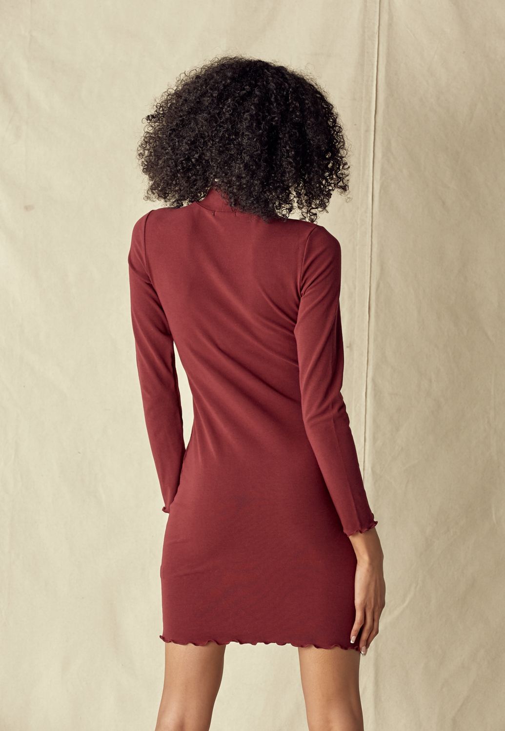 Wave Hem Mock Neck Dress