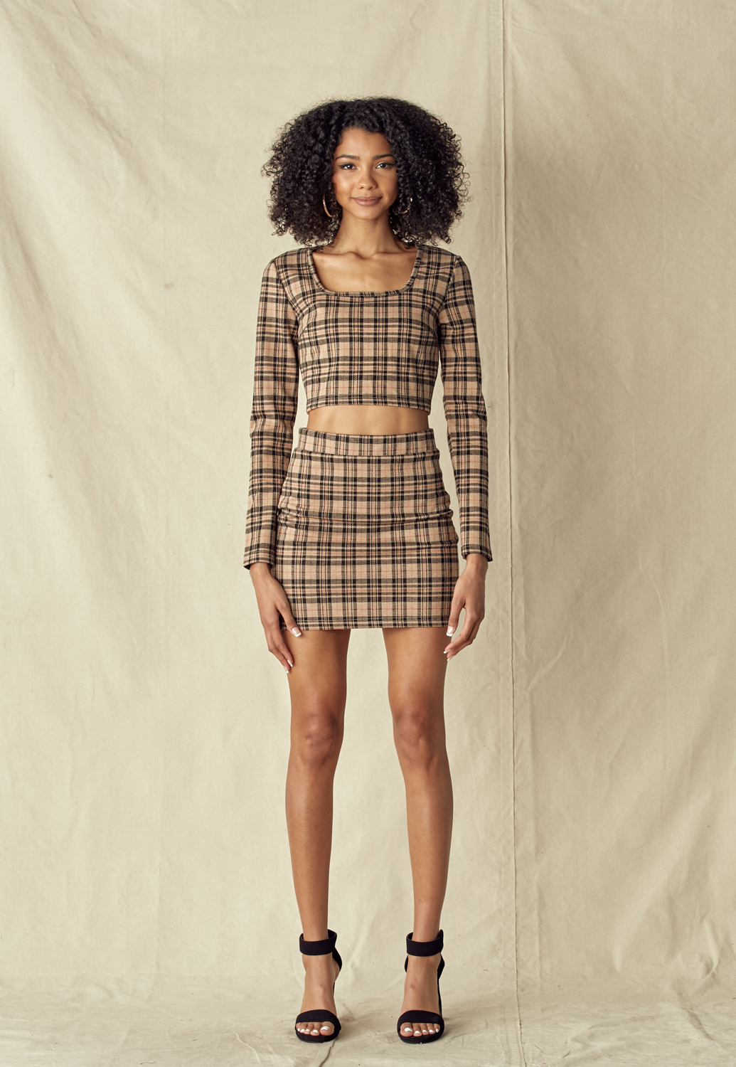 Check Print Square Neck Crop Top & Skirt Set