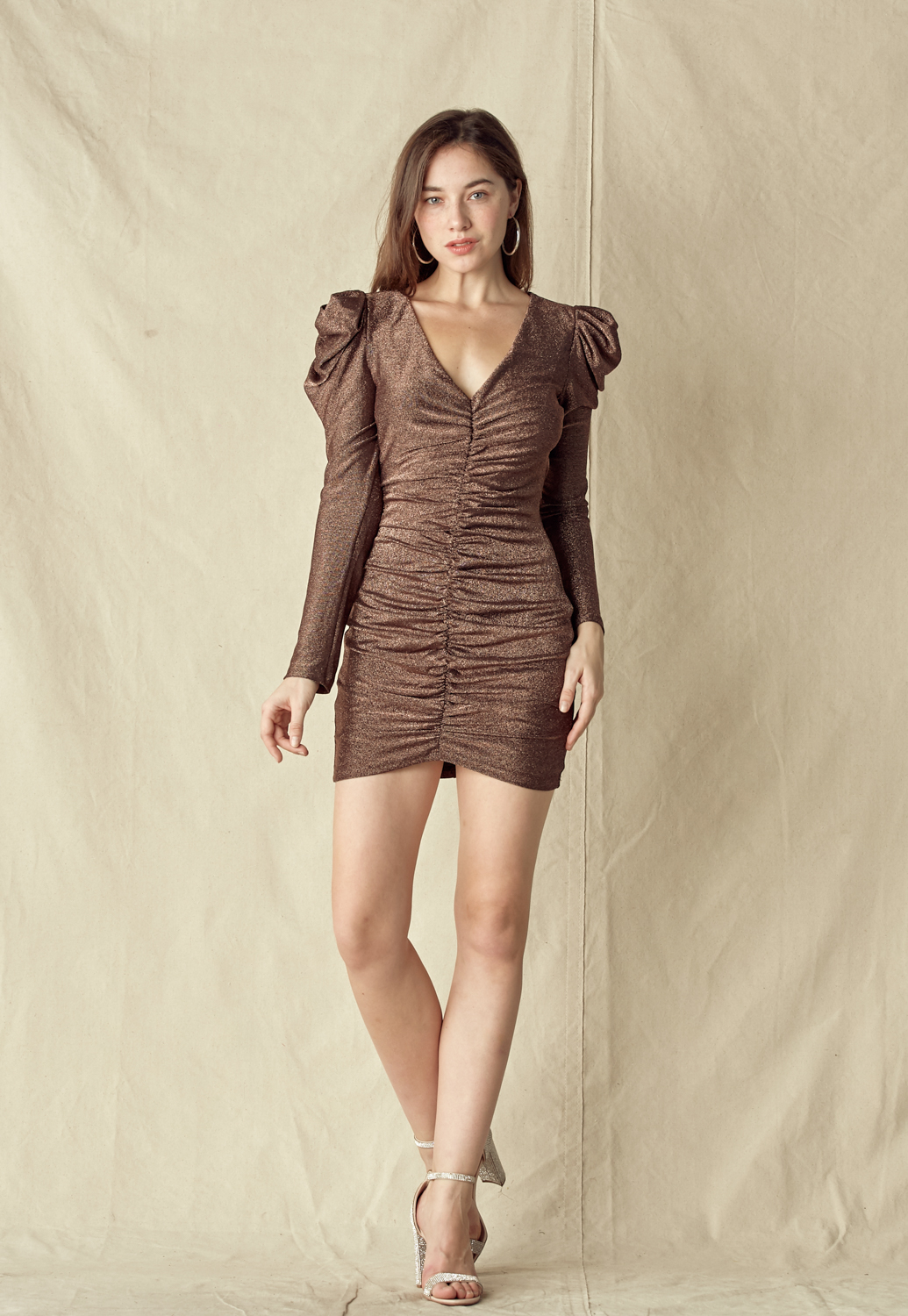 Puff Sleeve V-Neck Mini Dress