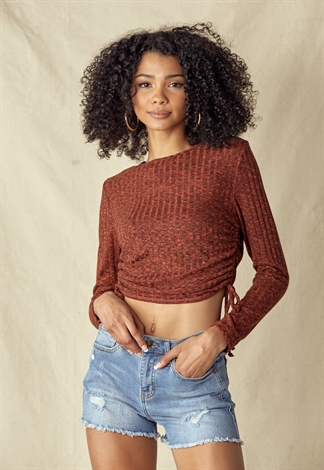 Side Drawstring Knit Top