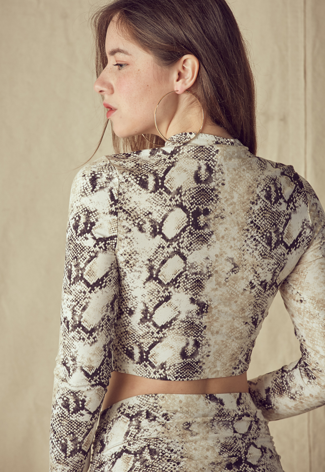 Snakeskin Print Ruched Top