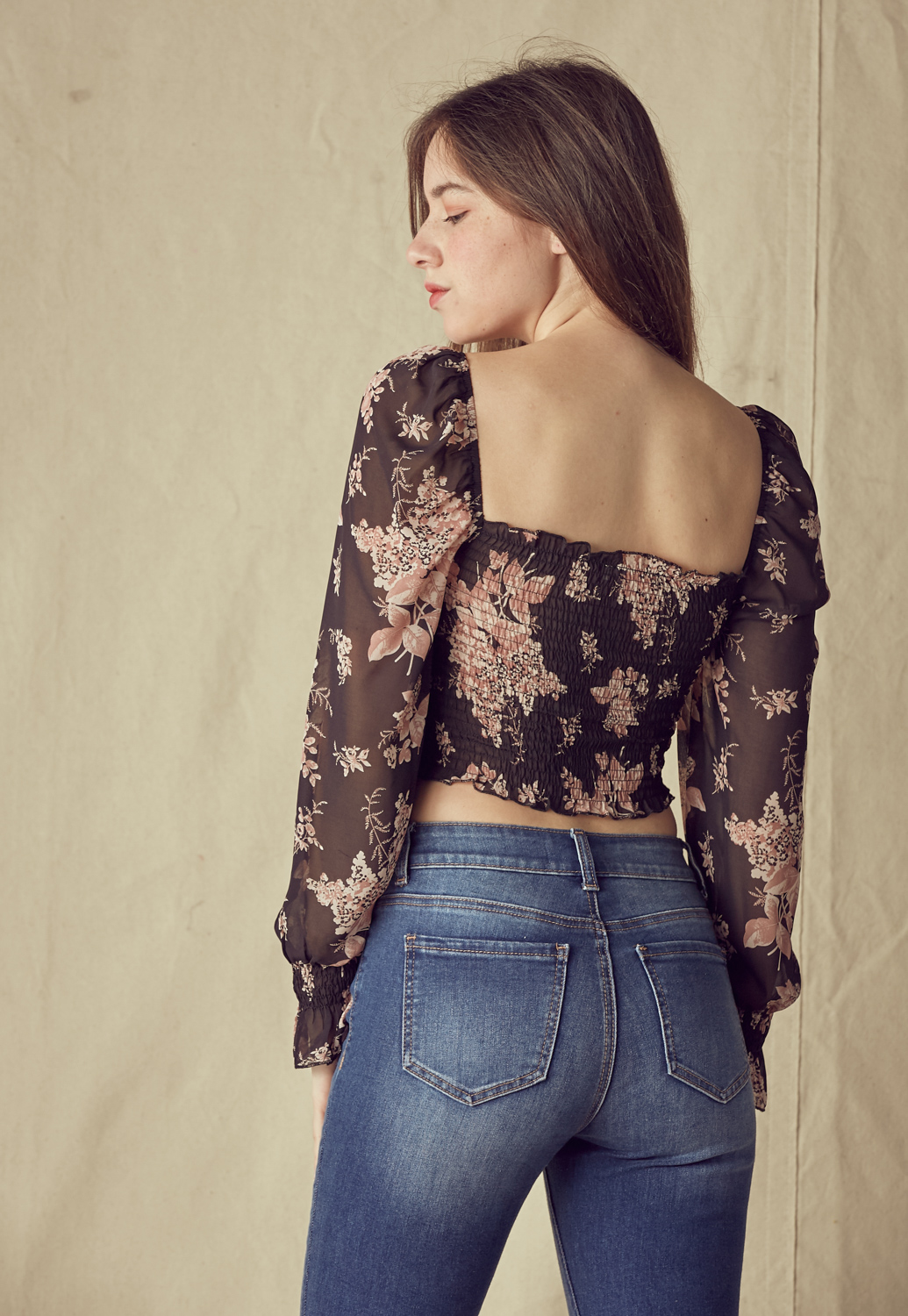 Drawstring Front Floral Blouse