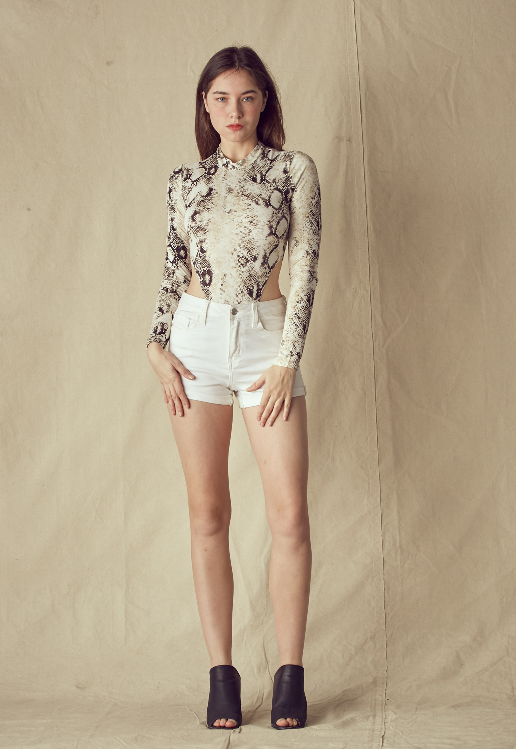 Snakeskin Side Cut Out Bodysuit