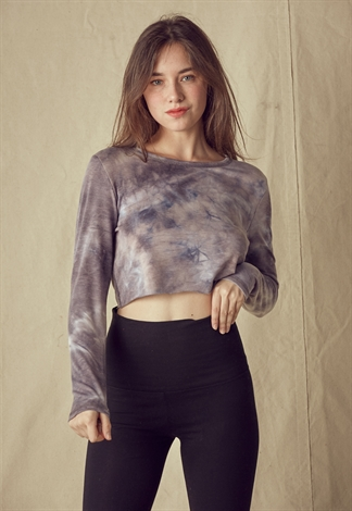 Tie Dye Round Neck Long Sleeve Crop Top