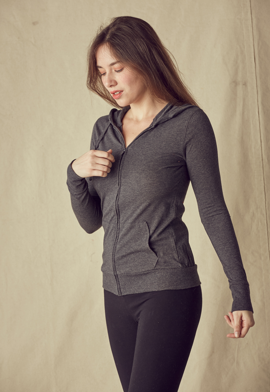 Pocket-Front Zip-Up Hoodie