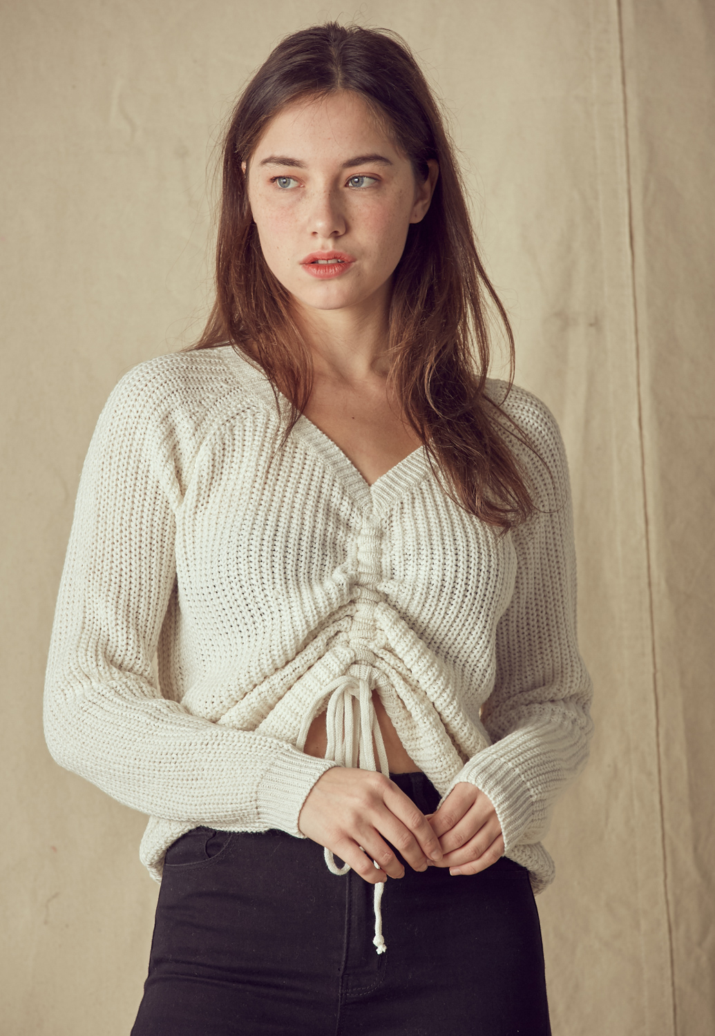 Drawstring V Neck Long Sleeve Sweater
