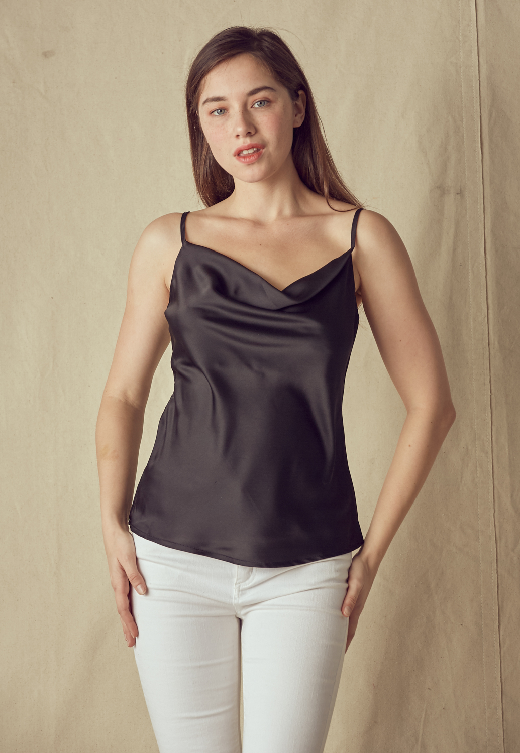 Satin Cowl Neck Cami