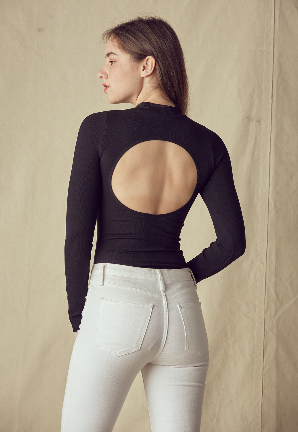 Mock Neck Cutout-Back Bodysuit