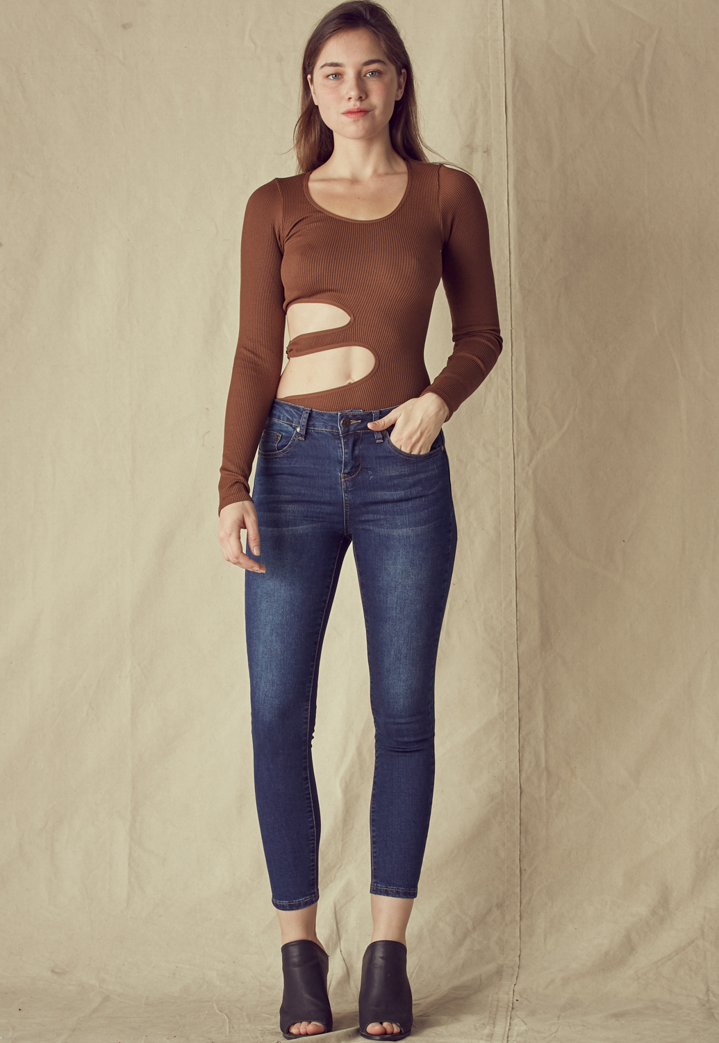 Side Cut Out Round Neck Bodysuit