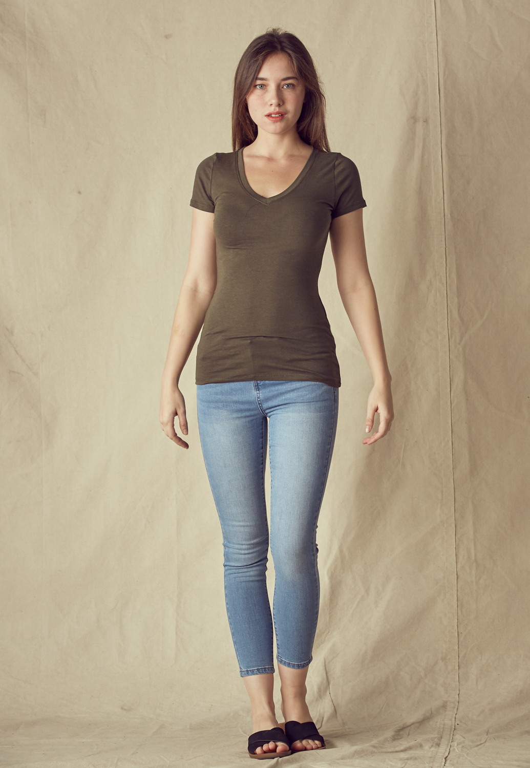 V Neck Slim Fit Basic Tee