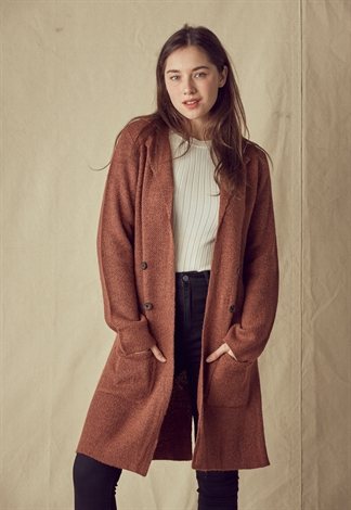 Front Pocket Knit Long Cardigan