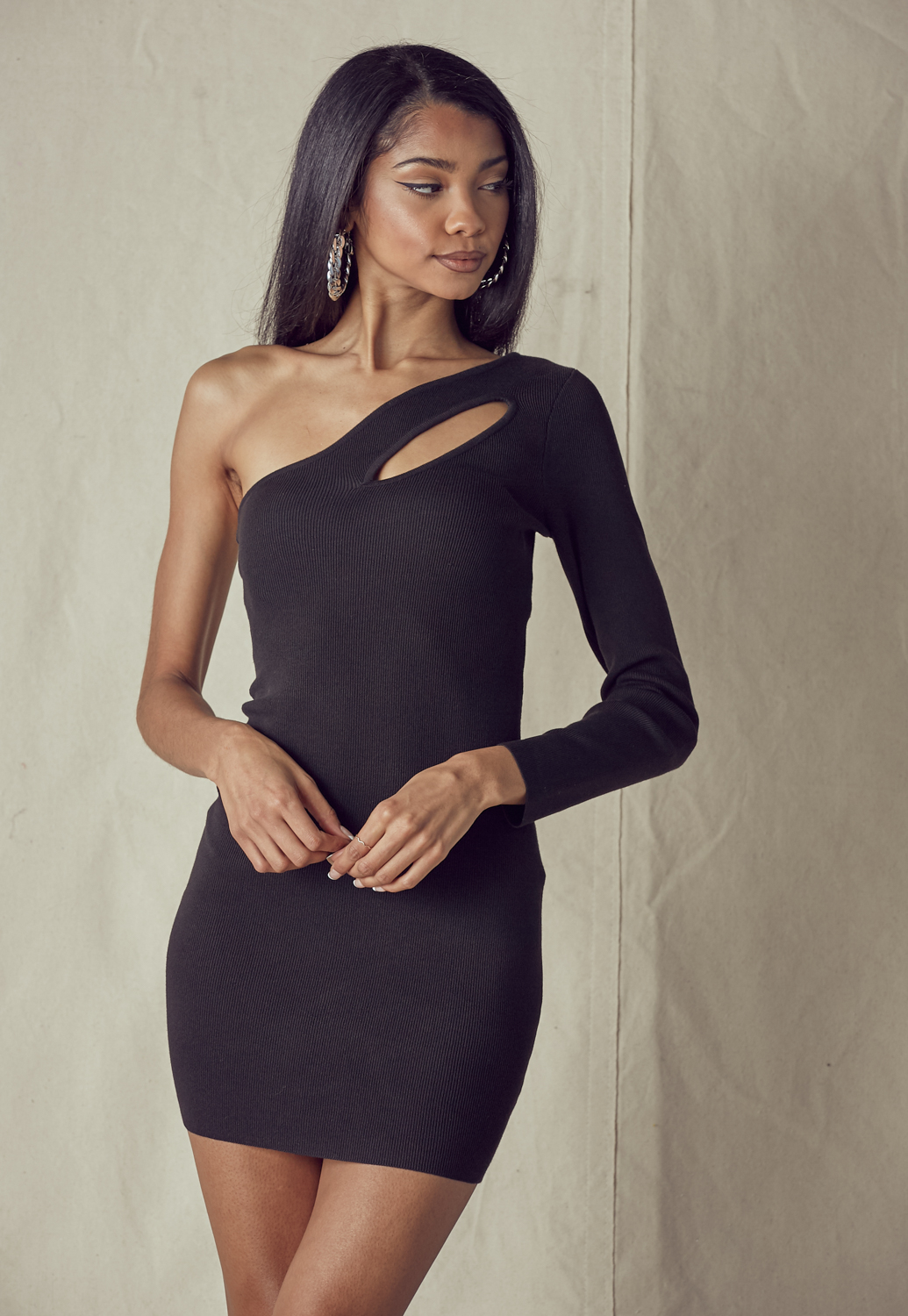 One Shoulder Front Cutout Knit Dress
