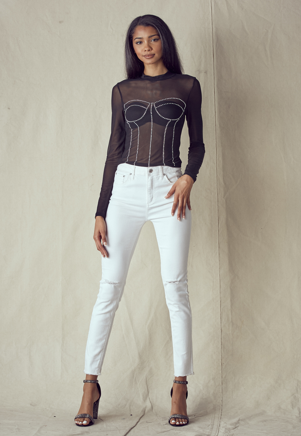 Mock Neck See Through Rhinestone Top
